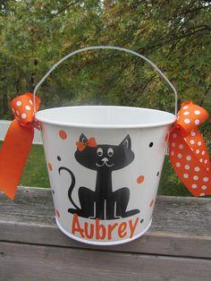 Halloween bucket: Personalized Halloween bucket pail - black cat - trick or treat