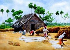 Indian watercolor artists are known for their rich sense of colors and watercolor techniques.Sanjay Bhattacharya, Rajkumar Sthabathy and Milind Mulick. Watercolor Scenery, Watercolor Clouds, Watercolor Landscape Paintings, Watercolor Artists, Watercolor Techniques, Painting Art, Watercolor Water, Watercolor Artwork, Gouache Painting