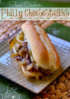 Slow Cooker Philly Cheesesteaks are so easy to make any night of the week! | MomOnTimeout.com