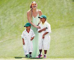 Tiger Woods' girlfriend Lindsey Vonn, son Charlie and daughter Sam watch him play during the Par 3 Contest prior to the start of the 2015 Masters Tournament on April 8, 2015 in Augusta, Georgia