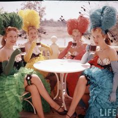 1955 Disneyland - Chorus Girls enjoying a beverage above the Golden Horseshoe, non-alcoholic of course. From the Life Magazine archives, color-corrected by United Style