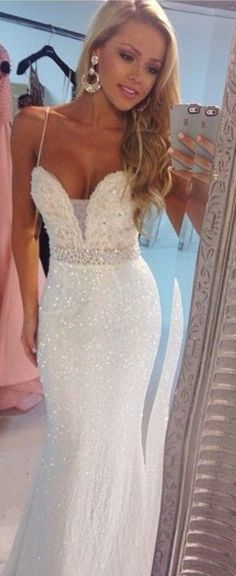 Aliexpress.com : buy sexy spaghetti straps sheath prom dress 2015 new white evening gowns with crystals floor length formal gowns from reliable gown evening suppliers on su zhou wedding &events co,ltd