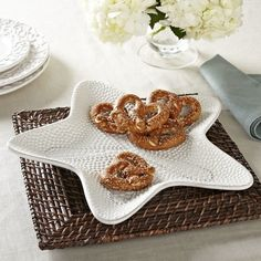 Sea Star Platter | With a glazed, textured finish and starfish shape, this large serving piece can hold snacks and hors d'oeuvres, or function as a catch-all for keys and other entryway essentials.