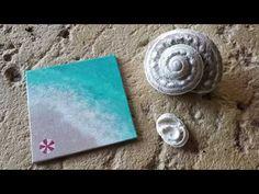 How To Easily Paint A Beach/Ocean With Acrylic Paints (Art Tutorial) Square Canvas, Art Tutorials, Acrylics, Sea Shells, Ocean, Beach, Youtube, Painting, The Beach