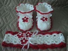 Обувь ручной работы. Ярмарка Мастеров - ручная работа. Купить Пинетки и повязка. Handmade. Белый, пинетки вязаные, пинетки на заказ