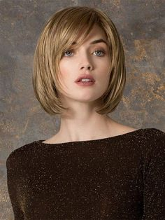 Short layered bob hairstyles with side bangs for round face women and thick hair with light copper golden hair color