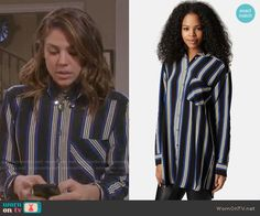 Abigail's black and blue striped shirtdress on Days of our Lives. Outfit Details: http://wornontv.net/49999/ #DaysofourLives