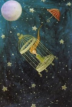 when there's nothing left to do by Adnil (Linda Pakkas) | A Collection of Blue Illustration Art at: http://www.pinterest.com/oddsouldesigns/illustrate-the-rainbow-blue/ #stars #celestial