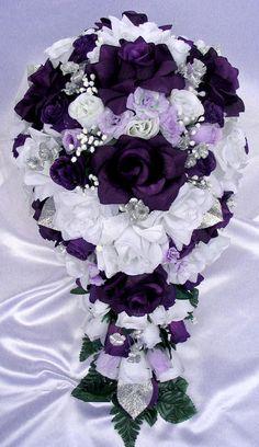 Bridal Wedding Party Bouquet Posy Silk Flowers Hydrangea Floral Home Decor US Purple Wedding Bouquets, Purple Wedding Cakes, Silk Flower Bouquets, Cascade Bouquet, Bouquet Toss, Bride Bouquets, Flower Bouquet Wedding, Silk Flowers, Plum Wedding