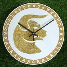 "Zodiac Sign TAURUS Wall Clock DIA 12"" Inch Gold Glitter Colour: Black Clock Hands"