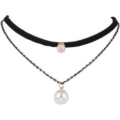 Faux Suede Pearl Choker (5,81 BRL) ❤ liked on Polyvore featuring jewelry, necklaces, accessories, choker, choker necklace, choker jewellery, faux suede choker, pearl choker necklace and pearl jewellery