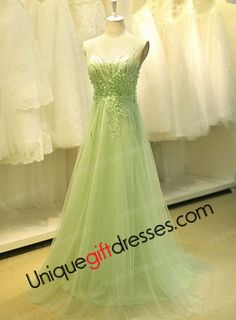 A-line V-neck Sweep Train Sweep Train Tulle Wedding Dresses 2015 With Beads Sequins Appliques Amazing Sage