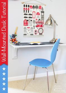 Wall Mounted Desk Tutorial - Pretty Handy Girl ~ love this idea! Easy desk for anywhere in the house. Wall Mounted Desk, Wall Desk, Tv Furniture, Furniture For You, Tv Wall Shelves, Shelf Desk, Swivel Tv Stand, Build A Wall, Floating Desk
