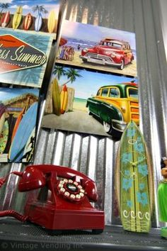 Totally <3 the retro surf look. This so what I want for Liam's room and already have some pieces for it.