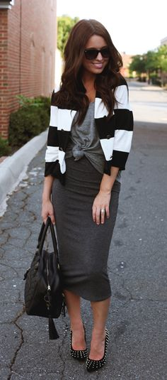jersey pencil skirt -- I like the whole outfit (shoes, sweater, knotted t)- Jessie