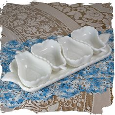 Imperial Milk Glass Compote and Relish Tray