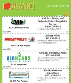 Orlando Coupons - Dozens of Printable Coupons for Dining, Attractions, Shopping, and More!