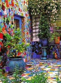 Outdoors Discover mosaic wall and patio by Kaffe Fassett Design Jardin Garden Design Mosaic Glass Mosaic Tiles Stained Glass Mosaic Wall Art Blue Mosaic Tiling Wall Tiles Yard Art, Mosaic Madness, Walled Garden, Mosaic Projects, Art Projects, Mosaic Glass, Stained Glass, Blue Mosaic, Mosaic Tiles