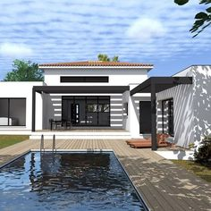 Find all types of houses for sale . Modern Small House Design, Modern House Plans, Bungalow House Design, Spanish House, Home Design Plans, Types Of Houses, Exterior Design, Architecture Design, New Homes