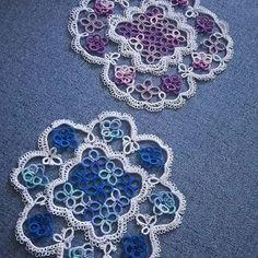 vigorin8 - 紫陽花イメージのドイリーブルーも完成 #tatting#lace #紫陽花 #レース編み #ドイリー #タティング #レース編み…