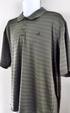 MWOT Adidas Mens Golf Gray Stripes Moisture Wicking Short Sleeve Polo Shirt  2XL  adidas  PoloShirt e1f9937baa