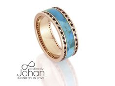 Women's 14k Rose Gold Ring, Unique Diamond Eternity Ring, Turquoise Wedding Band With Black And White Diamonds