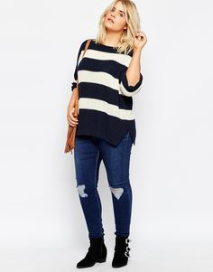 Image 4 of ASOS CURVE Ultimate Chunky Sweater In Stripe