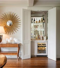 Have a lot of storage? Put the towels away and fill the space with a great home bar.