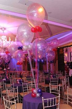 Pink, Purple Silver Sparkle Balloons with Tulle Centerpiece Tulle Centerpiece, Balloon Centerpieces, Tulle Balloons, Black Balloons, Balloon Inside Balloon, Balloon Ideas, Purple Sparkle, Pink Purple, Glitter Backdrop