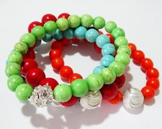 Stacking Beaded Elastic Green  Red Orange Blue With by BijiBijoux,