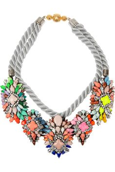 SHOUROUK Ivana Swarovski Crystal Necklace necklace #jewelry #necklace #statement #stones #modern #ethnic #silver #fashion #unique #fabulous #colorful