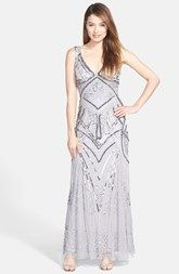 Patra Embellished Mesh Gown