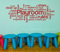 Playroom+Rules+Cloud+Art+Vinyl+Decal+by+lisamingersoll+on+Etsy,+$50.00