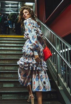 Antonina Petkovic Poses In Subway Styles for Harper's Bazaar