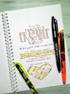 frixion erasable pens = a little slice of office supply heaven... but seriously, these are the only erasable pens I've ever found that write smooth, erase completely, and don't smear or smudge.