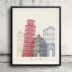 Pisa skyline poster - Fine Art Print Glicee Poster Decor Home Gift Illustration…