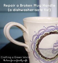 Did your favorite coffee mug lose its handle? Here's how to fix a broken coffee cup handle quickly and simply. The repair is even dishwasher safe! Coffee Mug Crafts, Coffee Stain Removal, Best Glue, Sharpie Paint, Mug Decorating, Green Craft, Painted Mugs, Glazes For Pottery