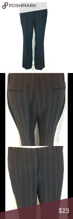 Trousers black with blue pinstripes Alfani Good for work, look professional and pulled together with these dress slacks.Black with blue pinstripes. High quality fabric. Excellent used condition. Side slash pockets. Check measures in pics alfani Pants