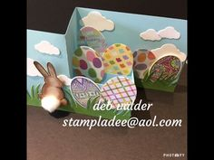 www.stampladee.com Z Fold Pop Up Box Card with Deb Valder.  I used the Eggstravagant stamp set along with Bunny Bum from Fun Stampers Journey  Easter Ready for SPRING