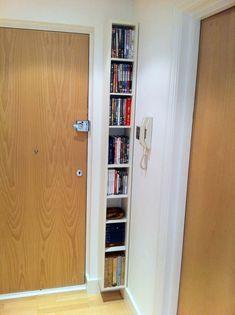 slim floating bookcase is a nice, clean way to add storage to dead space. A slim floating bookcase is a nice, clean way to add storage to dead space. Home Decor Hacks, Home Hacks, Diy Home Decor, Cd Regal Ikea, Diy Casa, Home Organization, Organizing, Decorating Tips, Interior Decorating