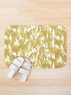 'Gold Camouflage' Bath Mat by Shane Simpson Bath Mat Design, Bath Mats, Foam Cushions, Camouflage, Prints, Gold, Stuff To Buy, Bath Rugs, Military Camouflage