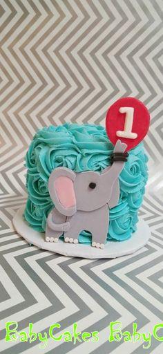 Elephant smash cake for a 1st birthday.