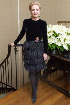 See the 10 best dressed celebrities of the week: Carolina Herrera wears a feathered skirt perfect for the holidays