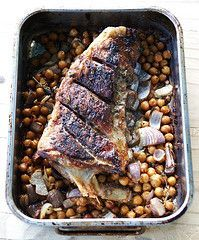Super Easy Roasted Lamb Breast with Chickpeas