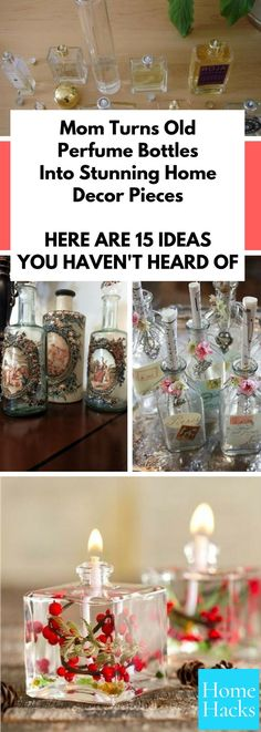 These vintage perfume bottle ideas for DIY crafts and projects are so great! Instead of tossing your old perfume bottles, use these fancy ideas to reuse them. They can become home decor centerpieces that guests will admire as art! #crafts #diy #perfume #upcycling #upcycle #craftideas #homedecor #homedecorideas