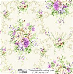"""Edgemont Flower Wallpaper 21"""" repeat. [HUN-37955] : Designer Wallcoverings™"""