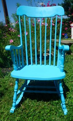 Reduced Price....teal Blue Chalk Painted Repurposed Vintage Rocking Chair…