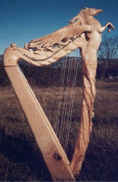 Celtic harp with Pegasus design.