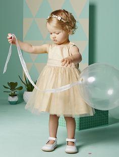 Vestido de satén y muselina ceremonia bebé BLANCO CLARO LISO+GRIS MEDIO LISO