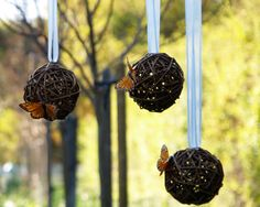 Rustic Wedding Pomanders Decoration Butterfly Country Romantic Bohemian Shabby Chic Spring Bride   $18.00 via Etsy.